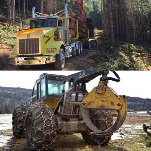a semi and skidder using tire chains in mud