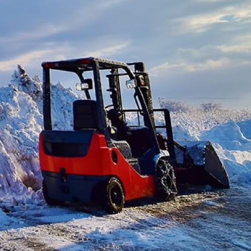 skid steer clearly path with tire chains