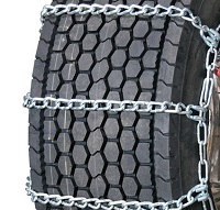 semi/commercial truck wide base highway service with cam snow tire chains