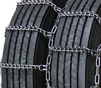 Forestry semi/commercial truck studded link alloy 7mm dual snow tire chains