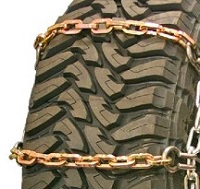 truck tire chains wide base heavy duty square link alloy with cam